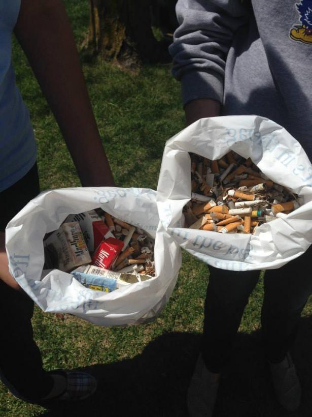 Displaying bags of collected tobacco debris